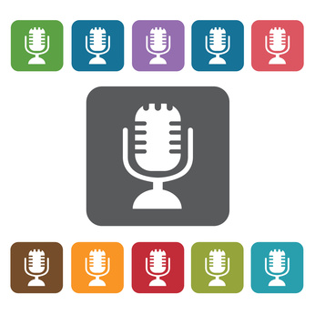 Microphone icon. Cinema movie icons set. Rectangle colourful 12
